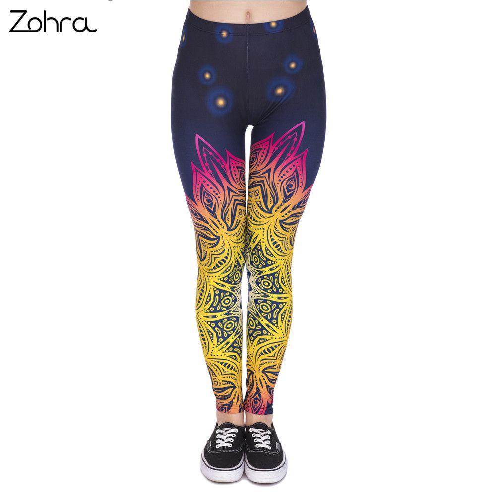 Zohra Printemps Mode Femmes Legins Mandala Lumières 3D Impression Sexy Legging Taille Haute Doux Femme Leggings