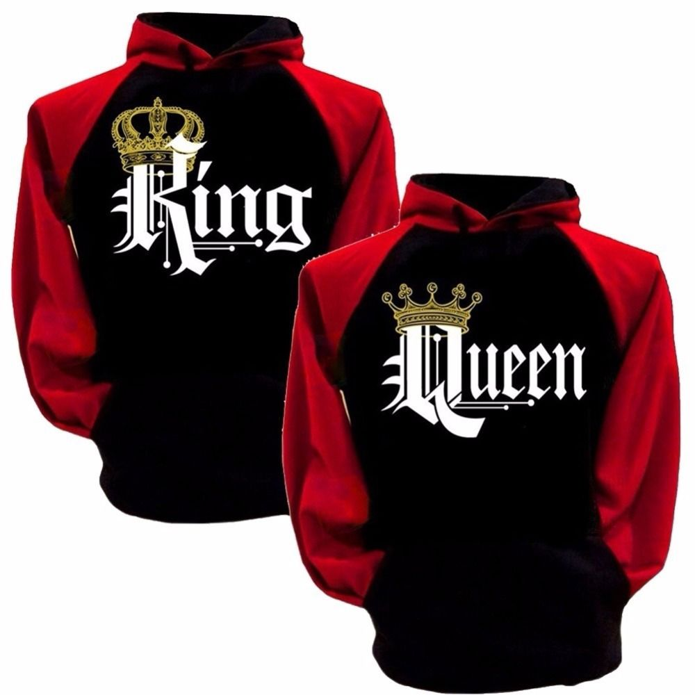 <font><b>Couple</b></font> Lover Matching Look Sweatshirt 2018 Autumn Winter Unisex Women Men Casual Hooded Hoodies KING and Queen Letter Pullovers