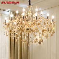 Candelabros de cristal modernos iluminación del hogar lustres de cristal decoración candelabro de lujo candelabro colgantes sala de estar lámpara de interior