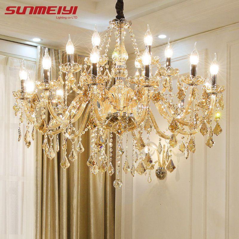 Lustres en cristal modernes éclairage à la maison lustres de cristal décoration de luxe bougie lustre pendentifs salon lampe d'intérieur