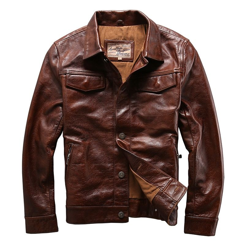 genuine cow skin leather jacket mens cowhide casual vintage biker leather jacket