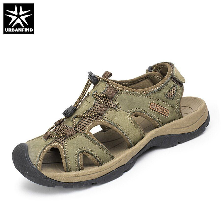 Plus Size 38-47 Men Sandals Genuine Leather Fashion Summer Shoes Men Slippers Breathable Men's Sandals Causal Shoes Leather