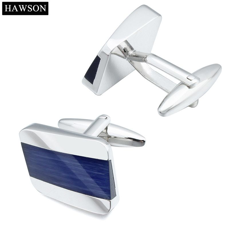 1 Pair Copper Blue Curved Design Cufflinks Popular Irregular Cuff Links For Men Come With Box