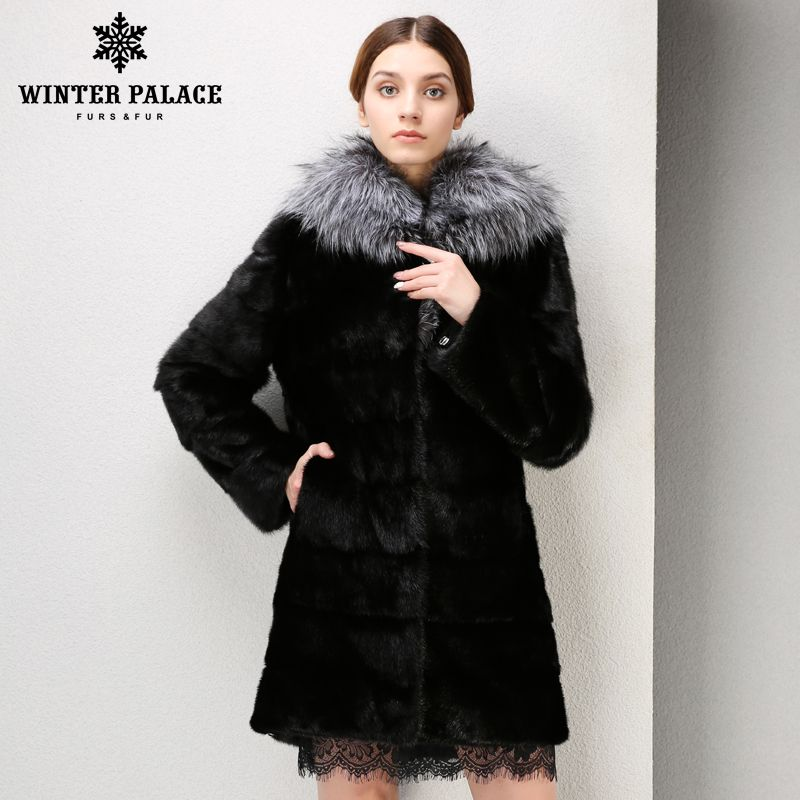 Mode Schwarz große fuchs pelz kragen pelz mantel beliebte stile nerz pelz mantel Aus Echtem Leder winter jacke frauen Mode Schlank pelz