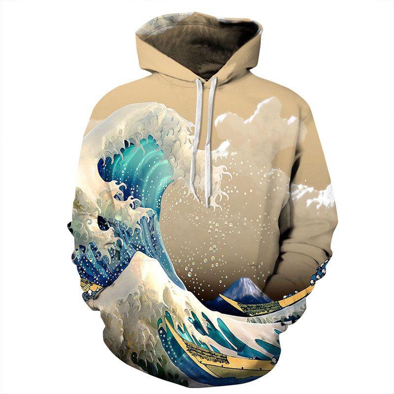 Mr.1991INC New Fashion <font><b>Waves</b></font> Hoodies Men/Women 3d Sweatshirts Print Colorful Sea <font><b>Waves</b></font> Unisex Thin Stylish Hooded Hoodies
