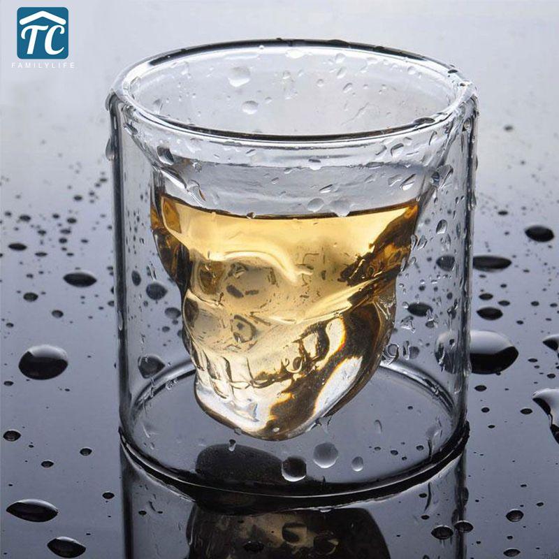 2018 offre spéciale créative crâne verre à liqueur 4 tailles bière tasse Double couche Transparent vin whisky tasse Drinkware