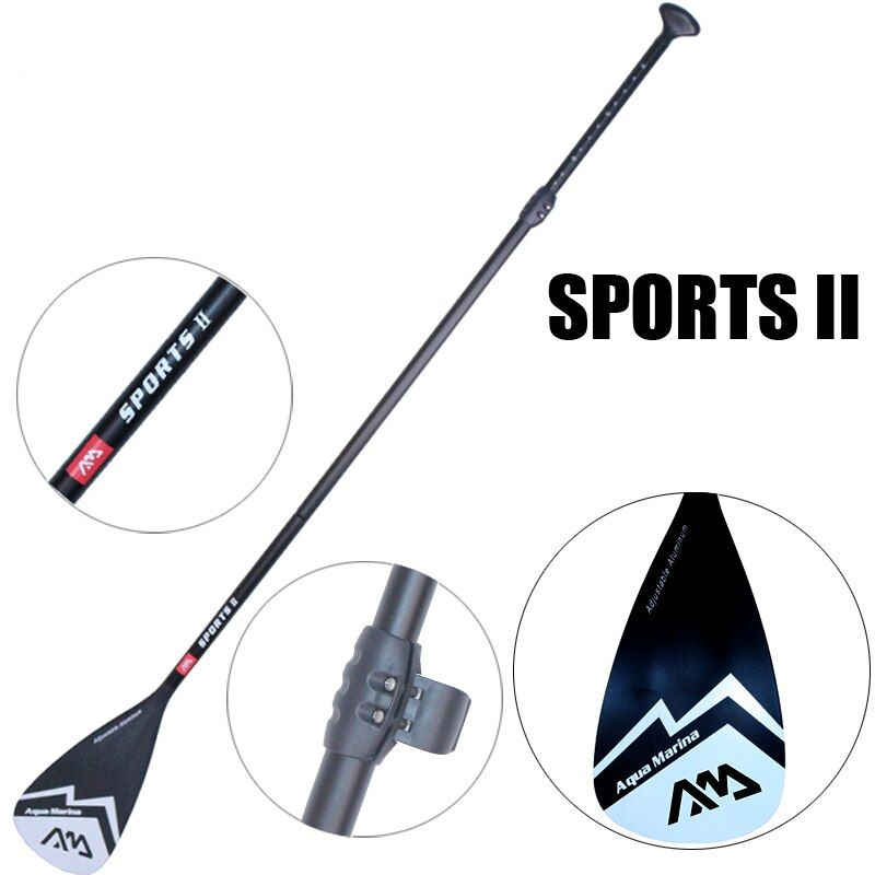 Black extendable paddle oar SUP AQUA MARINA stand up board 3 section surfing board aluminium 165-210cm inflatable boat A03003
