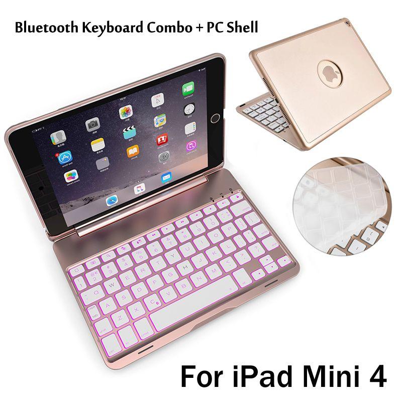 Für iPad Mini4 Hochwertige 7 Farben Hintergrundbeleuchtung Licht Drahtlose Bluetooth Tastatur Fall Abdeckung Für iPad Mini 4 + Geschenk