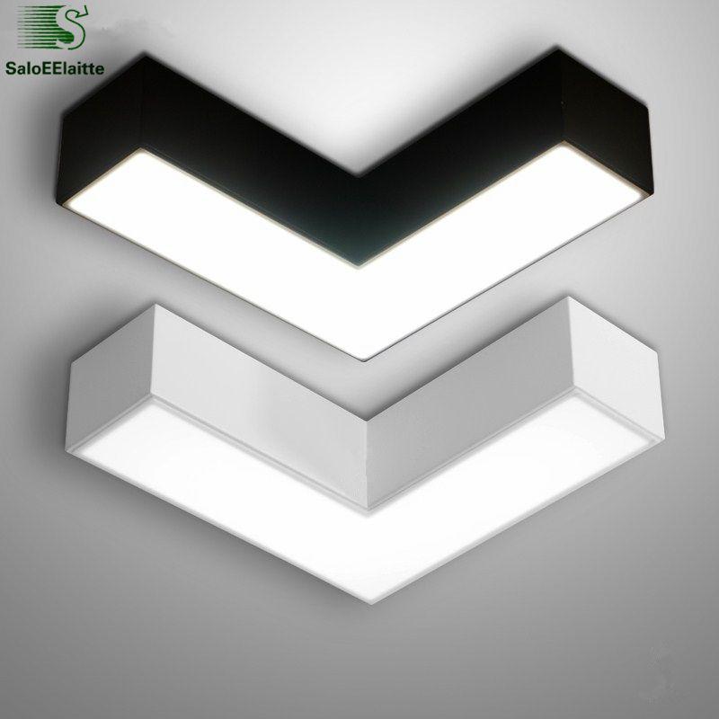 Moderne Luminaria flèche plafonnier mat métal Led plafonnier géométrique en métal éclairage pour chambre intérieur plafonnier