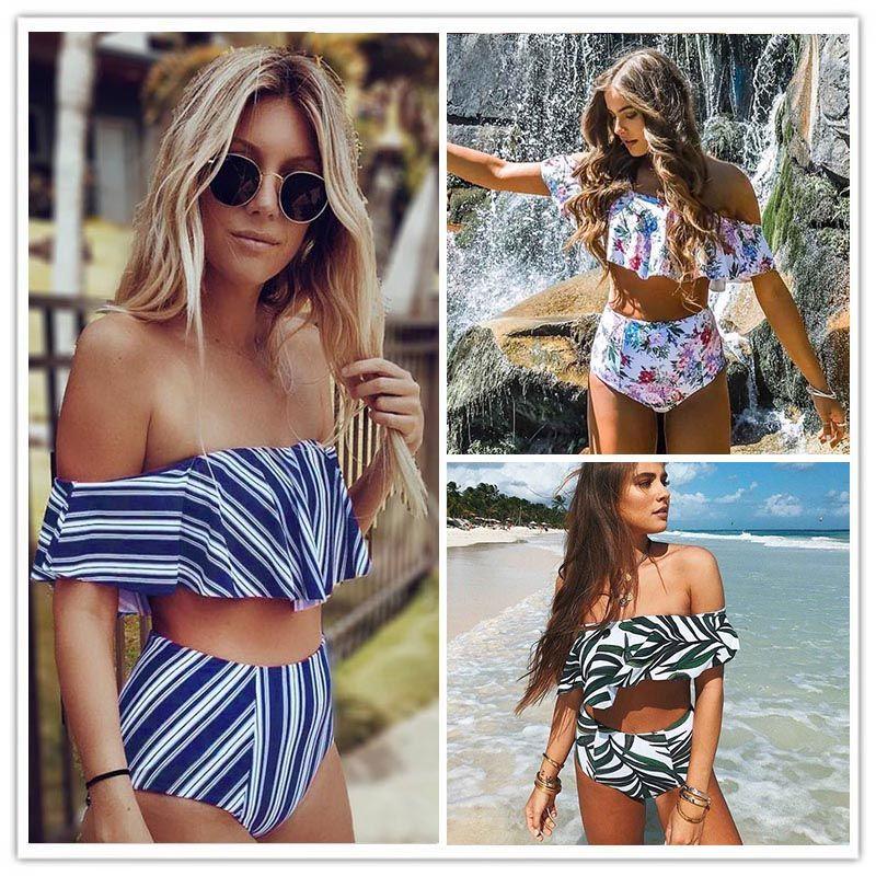 2017 Sexy bikini Set High <font><b>Waist</b></font> Swimwear Women Striped Biquini Ruffled Swim Bathing Suit White Blue Swimsuit Vintage Bikinis