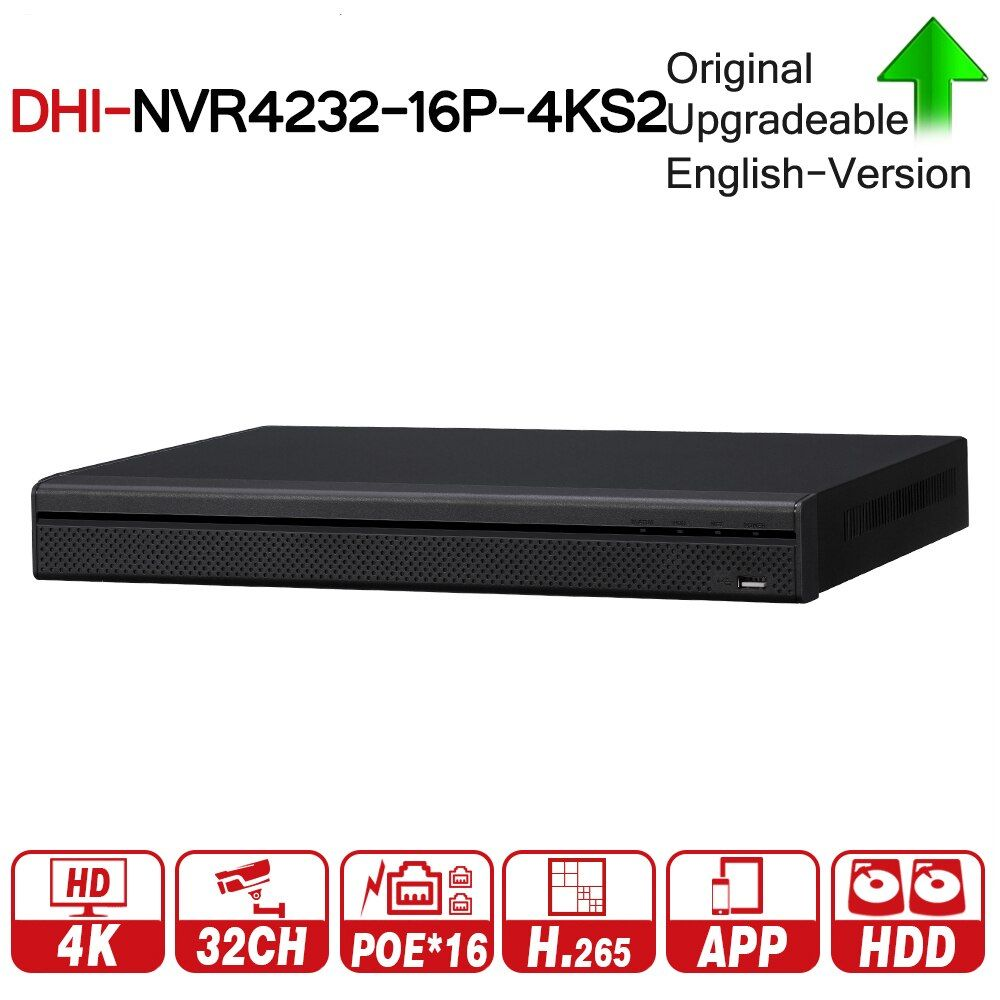 DH NVR4232-16P-4KS2 with logo original 4K 32CH NVR With 16CH POE Video Recorder 2 SATA Interface Support H.265 For IP Camera Kit