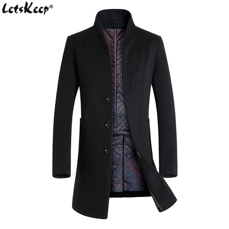 Letskeep New Winter woolen long peacoat men slim fit casual thick overcoat mens warm Windbreaker trench coat Jackets, MA209