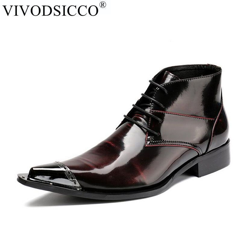 VIVODSICCO Handmade Genuine patent Leather Punk Military Combat Men's Leather Western Union Cowboy Boot Motorcycle Rock Boots