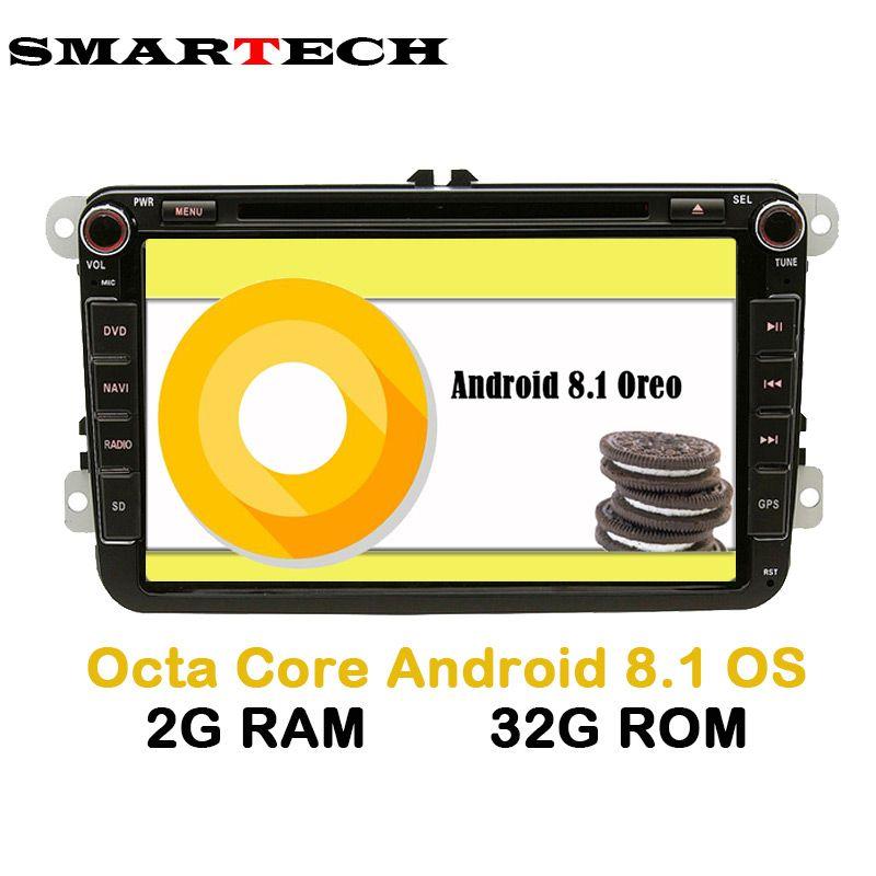 SMARTECH 8 Core 2 Din Android 8.1.0 VW Stereo Radio 2g RAM 32g ROM 2Din Auto DVD Player Für VW Skoda POLO GOLF PASSAT CC JETTA