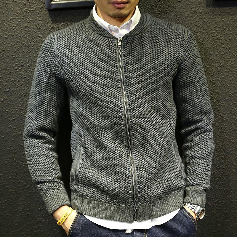 Men sweater jacket winter 2018 new autumn teenage boy cardigan knitted outerwear slim male baseball clothing zipper fashion