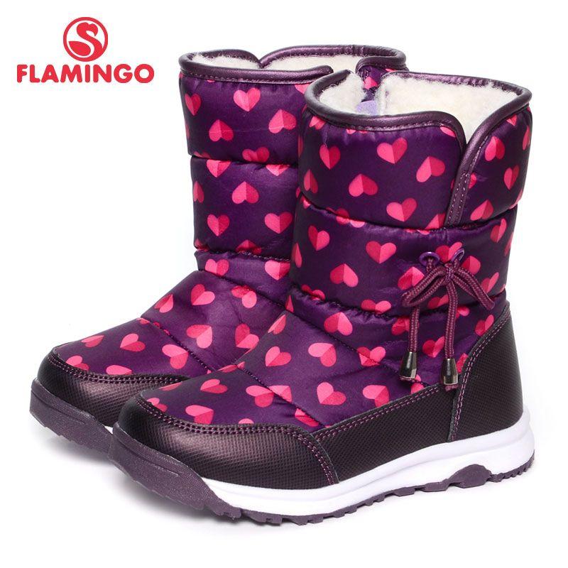 FLAMINGO Winter Mode Schnee Stiefel mit Wolle Zip Hohe Qualität Anti-slip Größe 25-30 Kinder Schuh für mädchen Freies verschiffen 52-NC406
