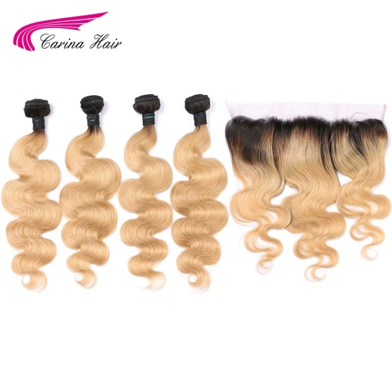 Carina 1b27 Color Malaysia Remy Human Hair Bundles with Frontal Body Wave Ombre Honey Blonde Hair with Ear to Ear Lace Frontal
