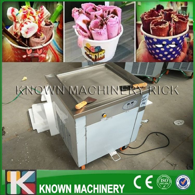 High efficiency CE certified 220V / 110V single square fried ice pan roll machine with copper condenser (Free shipping by sea)