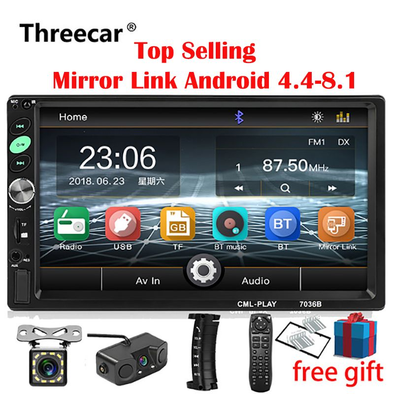 2din Car Radio 7 inch Touch mirrorlink Android Player subwoofer MP5 Player Autoradio Bluetooth Rear View Camera tape recorder