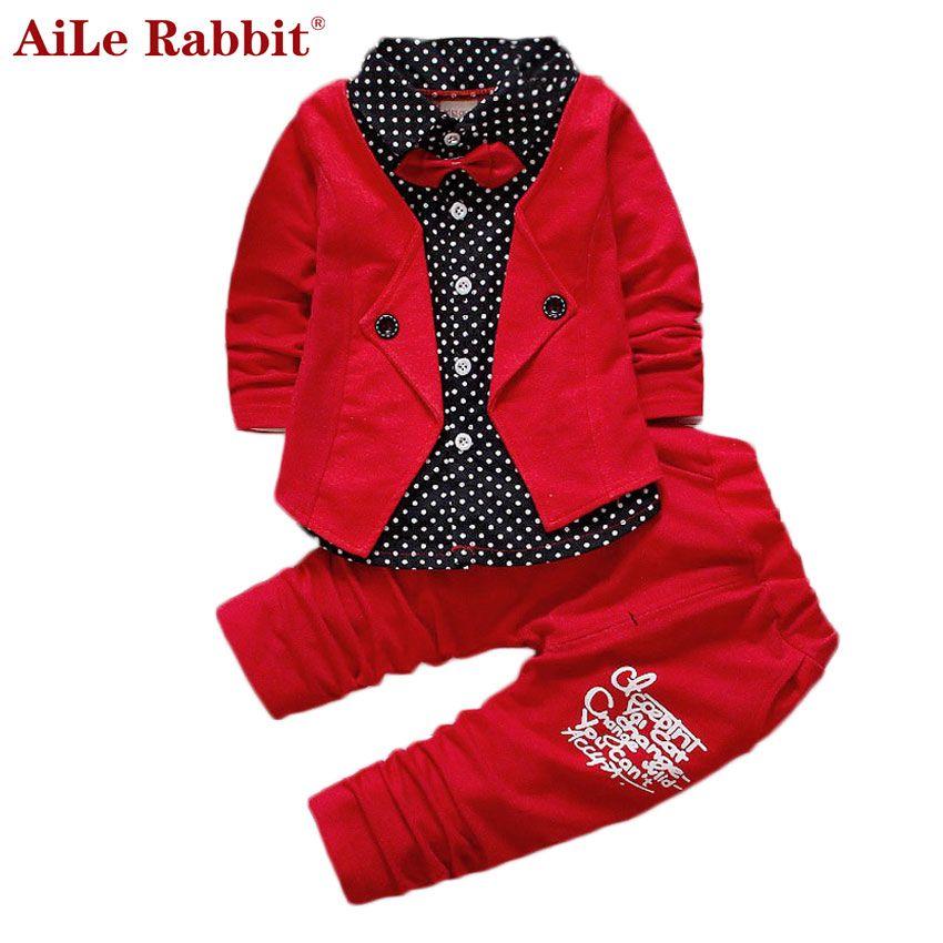 AiLe Rabbit 2018 Baby Boys Autumn Casual Clothing Set Baby Kids Button Letter Bow Clothing Sets Babe <font><b>jacket</b></font> + pant 2-Piece Suit