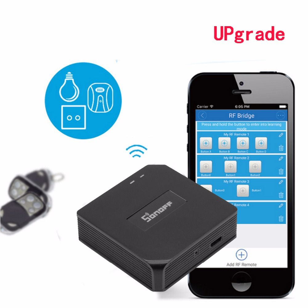 upgrade Sonoff RF Bridge WiFi 433 MHz Replacement Smart Home <font><b>Automation</b></font> Universal Switch Intelligent Domotica RF Controller