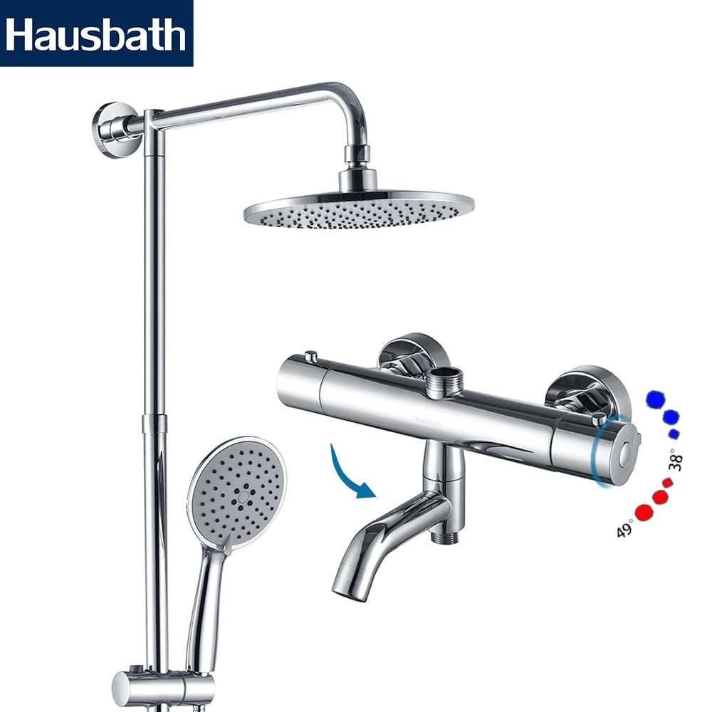Rainfall Bath Shower Faucet Set Thermostatic Mixer Shower Bathroom Faucet Shower Tap Faucet Bathtub Tap Waterfall