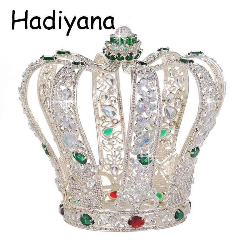 Hadiyana Luxury Baroque Full Cubic Zinconia Crown Elegant Wedding Party Jewelry Tiara Queen Accessories Crowns Wholesale HG6041
