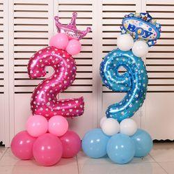 32 дюймов розовый и голубой номер фольги шары цифры гелий шарики для День рождения Свадебные украшения Воздушные шары события вечерние пост...