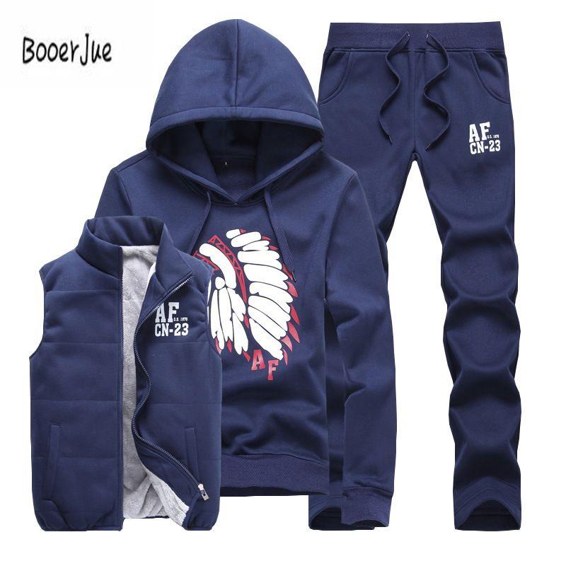 Three-Piece Sweat Suit Tracksuit Men Winter Thick Fleece Hoodies Men Tracksuit Set Jacket Vest Pants Men Clothing Set 2019