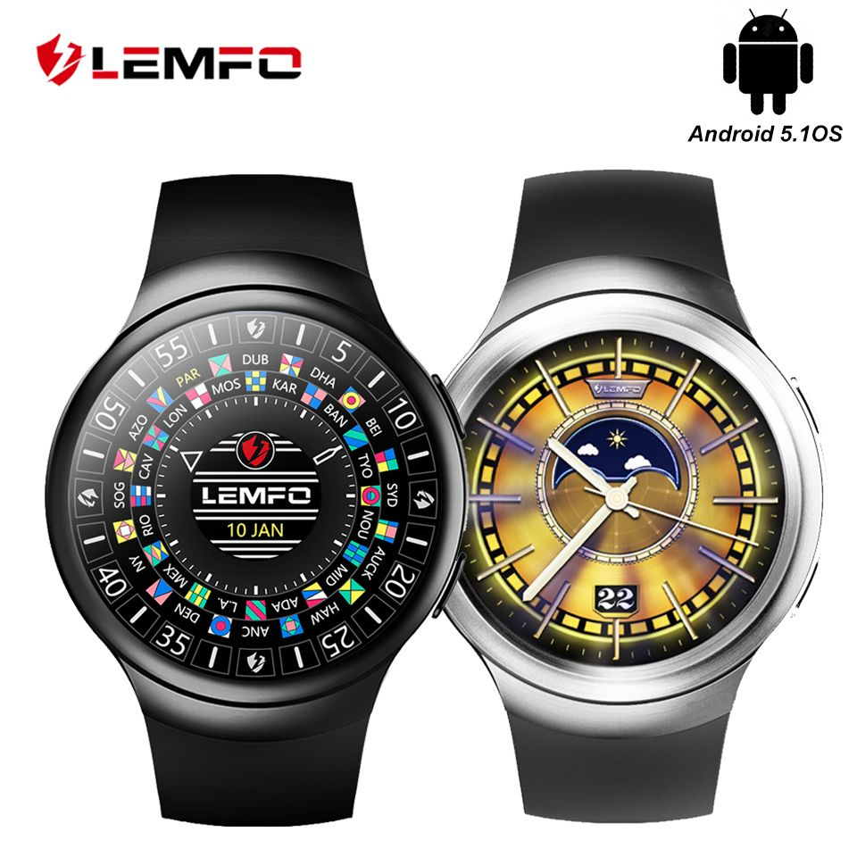 LEMFO LES2 Smart Watches Smartwatch Android Smart Watch GPS SIM Card Heart Rate Monitor Pedometer Support For Men Women