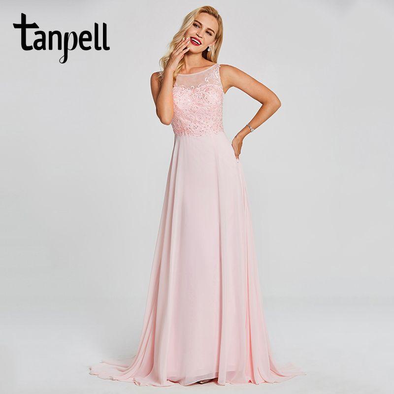 Tanpell bateau neck evening dress pink sleeveless floor length dresses cheap beaded appliques a line prom formal evening dress