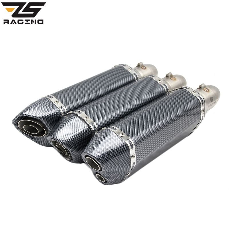 ZS Racing Akrapovic Motorcycle Exhaust Muffler Pipe Echappement Moto With db killer For GY6 CBR125 CRF230 TMAX 500 ER6N FZ6