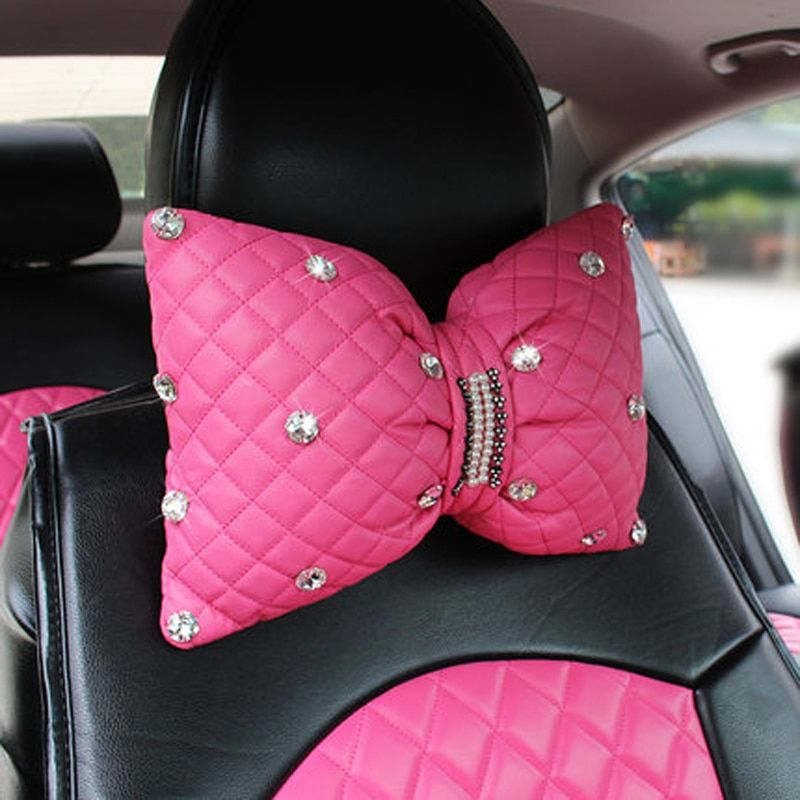Rhinestone covered car headrest neck pillow for women girls leather waist supports back rest lumbar pillows seat accessories