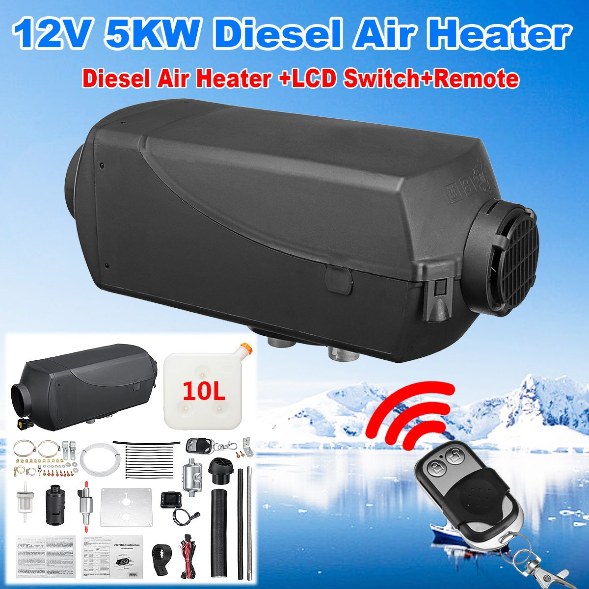 5000W 12V Air Oil Engine Fuel Car Heater With Remote Control LCD Monitor Single Hole For Trucks Boats Bus