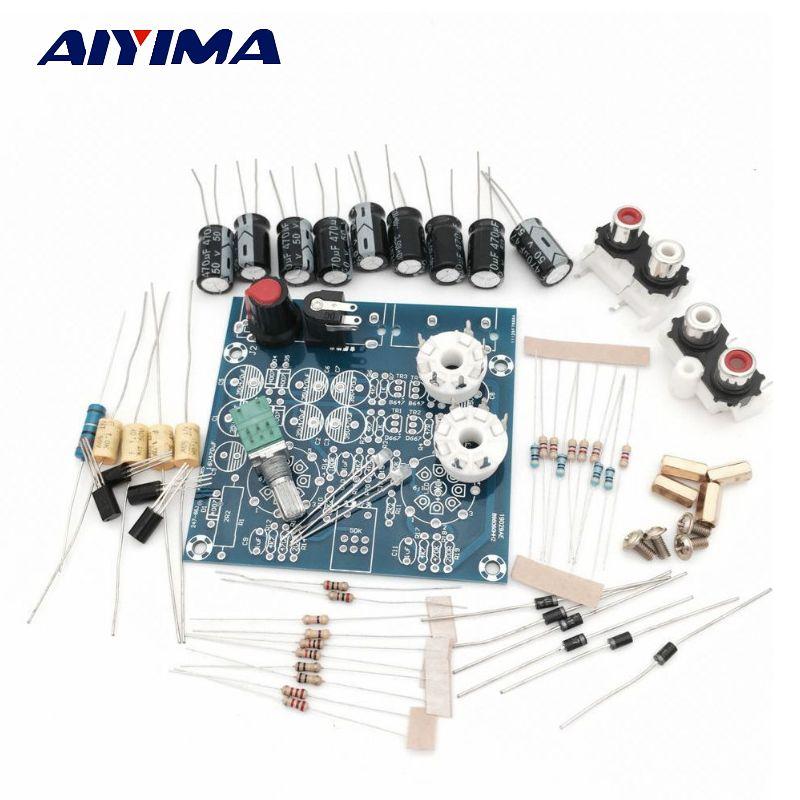 Aiyima трубки Усилители звуковой платы amplificador pre-AMP аудио микшер 6J1 Клапан предусилителя желчи буфера DIY Наборы