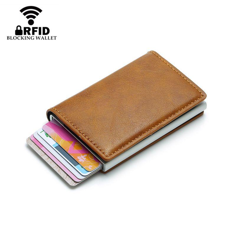 Nouveau mode Anti RFID blocage hommes porte-carte de crédit en cuir petit portefeuille ID porte-cartes de banque en métal Protection sac à main pour les femmes