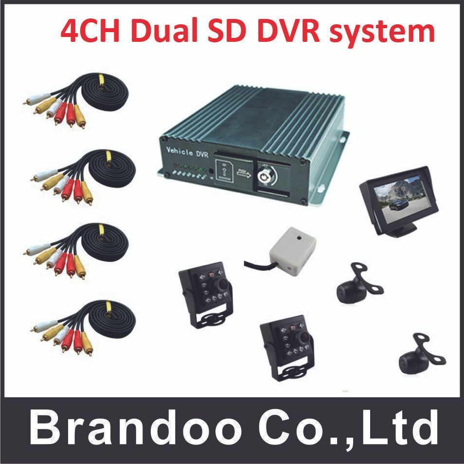 H.265 4 channel CAR DVR kit with Russian/English Menu, HDMI outpout,4pcs car camera microphone, 1pcs car monitor, free shipping