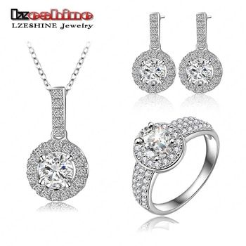 LZESHINE Luxury Jewelry Set Silver Color Micro Inlay Cubic Zirconia Pendant/Ring/Earrings Set For Fashion Women Aretes CST0026-B