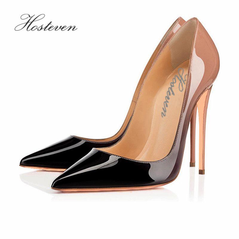 Hosteven Свадебные Женская обувь туалетный женские туфли-лодочки дамы студент женские туфли-лодочки Обувь градиент Обувь Большие размеры 34-46