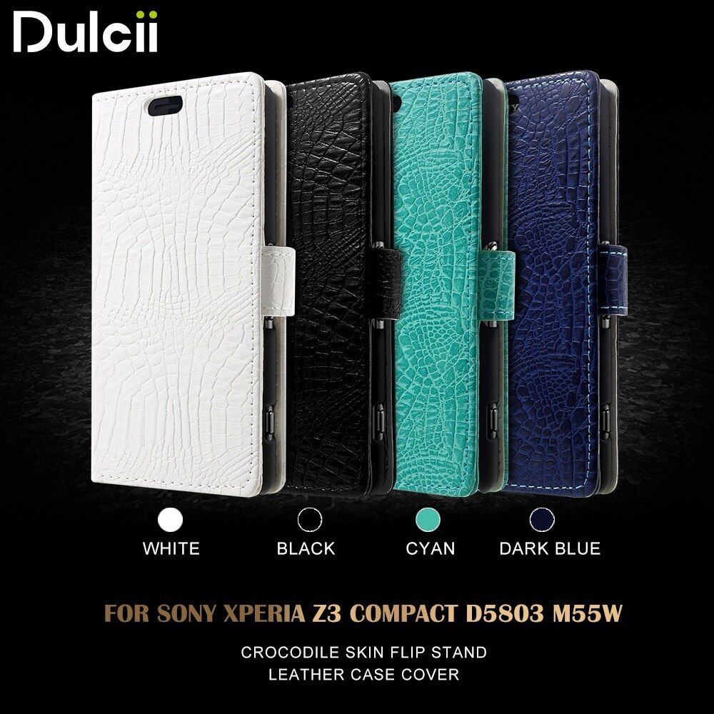 Dulcii Cover for Sony Xperia Z 3 Compact Phone Case Crocodile Skin Wallet Leather Case for Sony Xperia Z3 Compact D5803 M55 Case