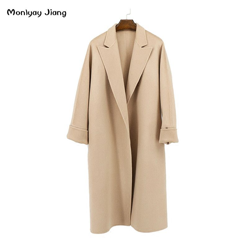 2017 autumn and winter women double faced cashmere overcoat female medium-long