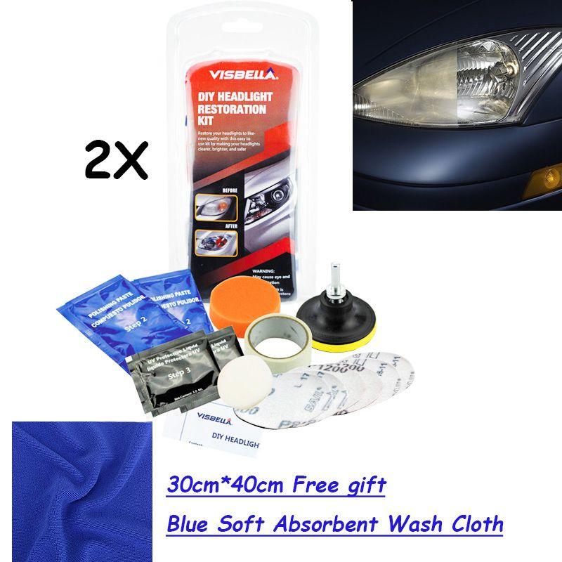 VISBELLA 2 kits/lot Kit éclaircisseur de phares bricolage restauration de phares avec 30 cm * 40 cm cadeau gratuit bleu chiffon de lavage absorbant doux
