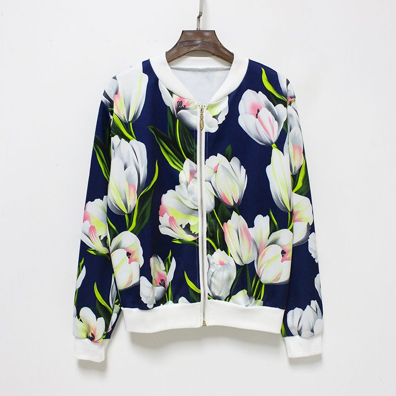 Hermicci NEW Flower Print Women Basic Coats Long Sleeve Zipper Bomber Jacket Casual Jacket Coat Autumn Winter Streetwear sukajan