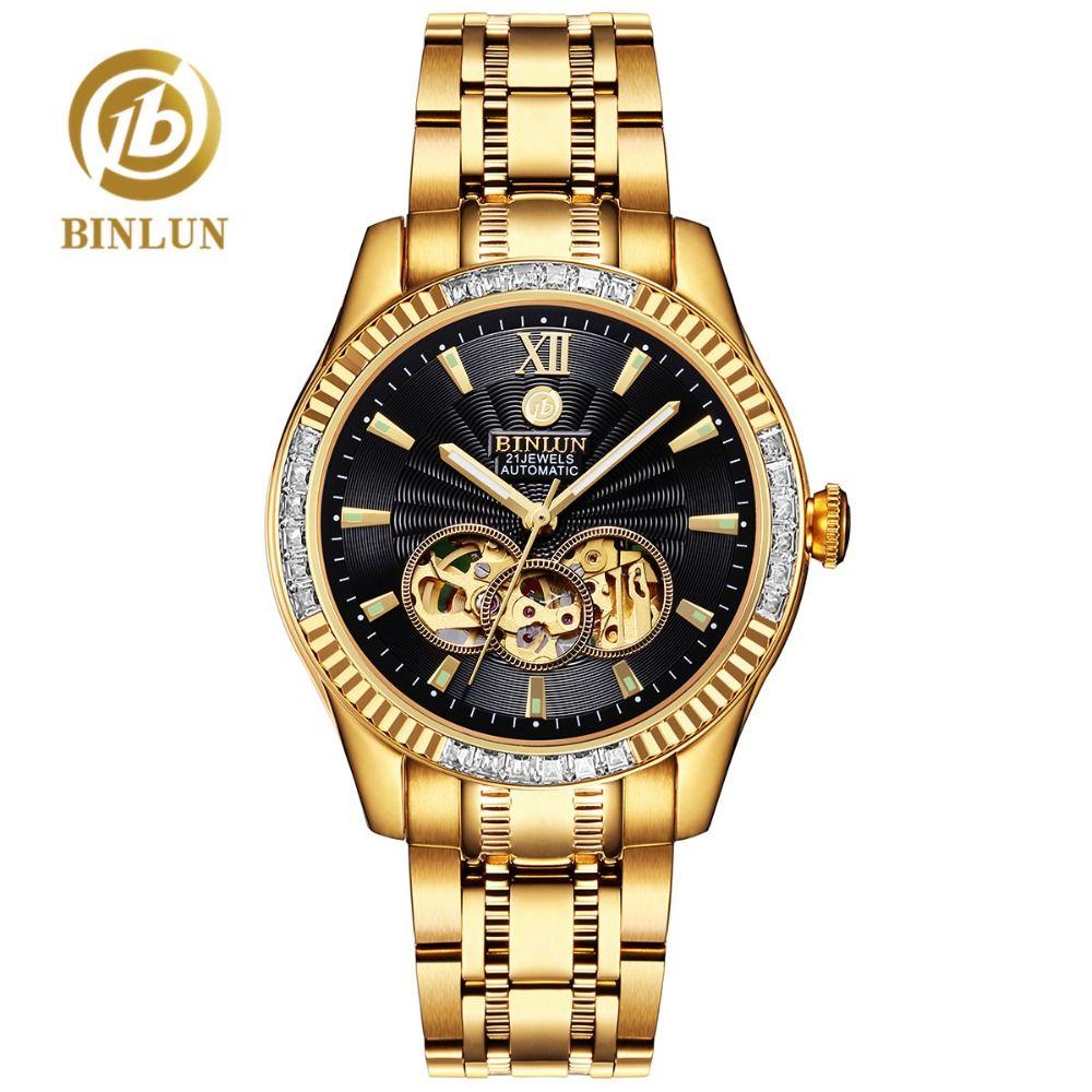 BINLUN 18k or de luxe hommes montre automatique Top marque squelette mécanique hommes montres Tourbillon Module diamant hommes montre-bracelet