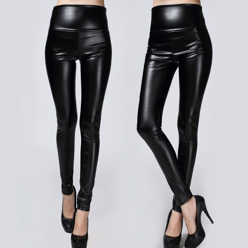 2017 New Winter Thickened Leggings Skinny Pants Women Black Leather Warm Pants waist high trousers High Quality Big Size