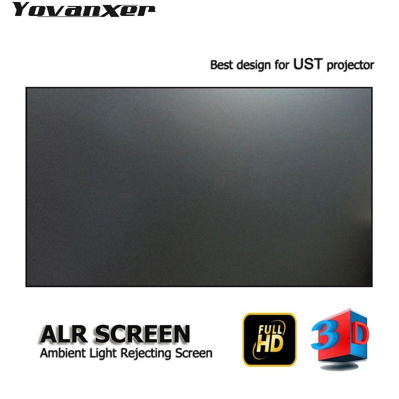 Top klasse Umgebungs Licht Ablehnung ALR Projektor Bildschirm 100 Ultra-dünne grenze Rahmen Spezialisieren für UST projektoren