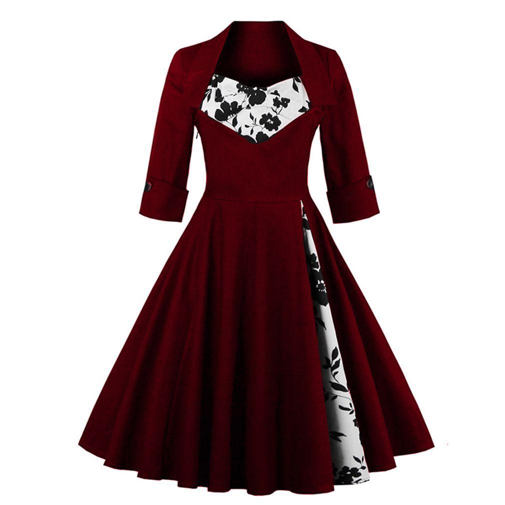 US Shipping femmes grande taille automne robe à manches longues Vintage rouge robe Patchwork robe Floral rétro décontracté fête Swing Vestidos
