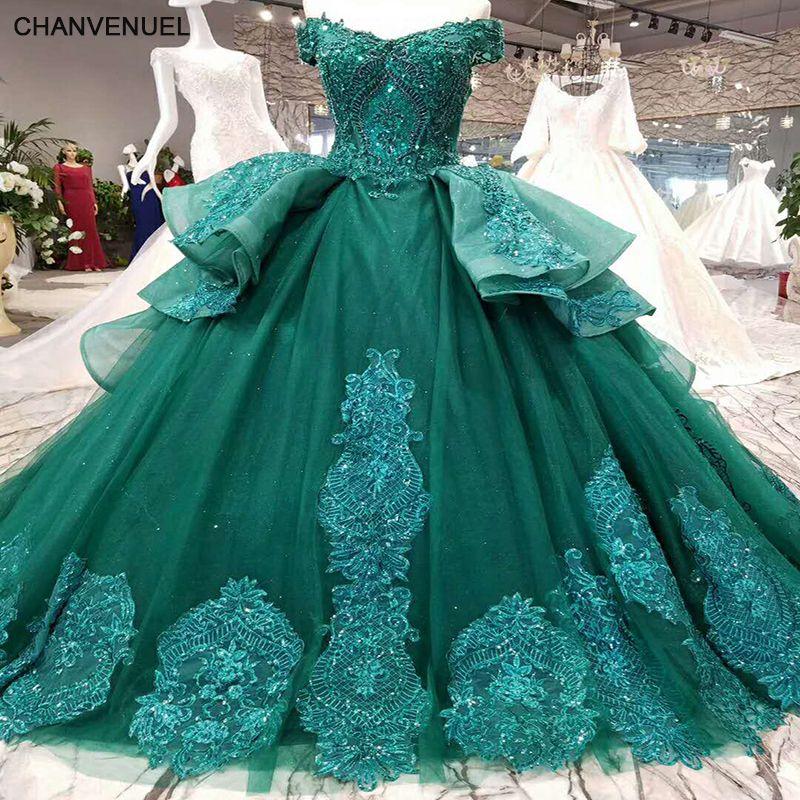 LSS006 vestidos de festa longo emerald evening dress long lace flowers lace up back sweetheart ball gown formal dress real photo