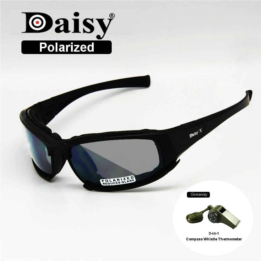 Polarized Daisy X7 Army Sunglasses, Military Goggles 4 Lens Kit, War Game Tactical Men's Glasses