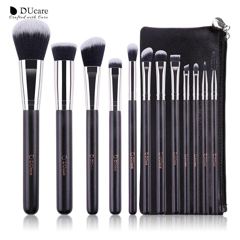 DUcare 12 pcs professionnel Maquillage Brosse Cosmétiques Ensemble avec Sacs En Cuir manche En Bois de haute qualité maquillage Brush Set